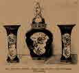 사진. 216, 217, 그리고 218.-'이마리' 자기병 그리고 두 개의 잔: 17세기.(이마리 자기는 아리타 지역에서 제작된 자기들 중 이마리항을 통해 외부로 공급되었던 도자기를 말한다. 17세기에 전성기를 누렸다.)