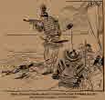 닛타 요시사다(新田義貞)가 카마쿠라로 향하는 그의 군대의 행렬을 위해 썰물을 간청한다